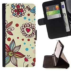 Momo Phone Case / Flip Funda de Cuero Case Cover - Pétalo Bloom Corazones de San Valentín - HTC Desire 820