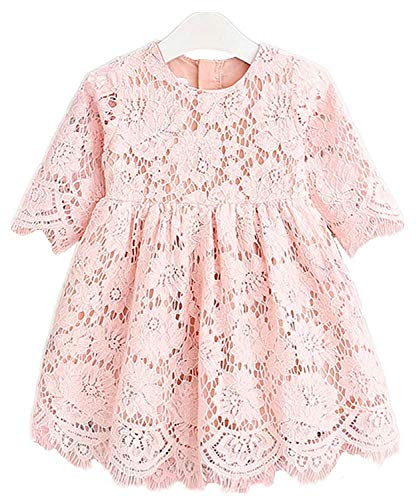 (2Bunnies Girl Baby Girl Vintage Holly Floral Scallop Lace Flower Girl Dress (Pink, 2T))