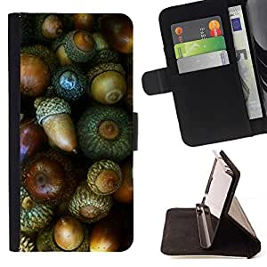 For Samsung Galaxy A3 Case , Nuez verde otoño bellota- la tarjeta de Crédito Slots PU Funda de cuero Monedero caso cubierta de piel