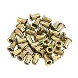 uxcell® 40 Pcs M4 Bronze Tone Carbon Steel Thread Flat Head Rivet Nut Insert Nutserts