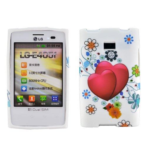 zkiosk® LG Optimus L3 E400 caja del teléfono caja cubierta de la manga bolsa móvil de silicona Herz rot
