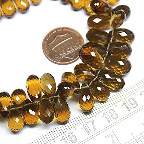 Beads Bazar Natural Beautiful jewellery Natural Beer Quartz Faceted Briolette Tear Drop Gemstone Loose Craft Beads Strand 9