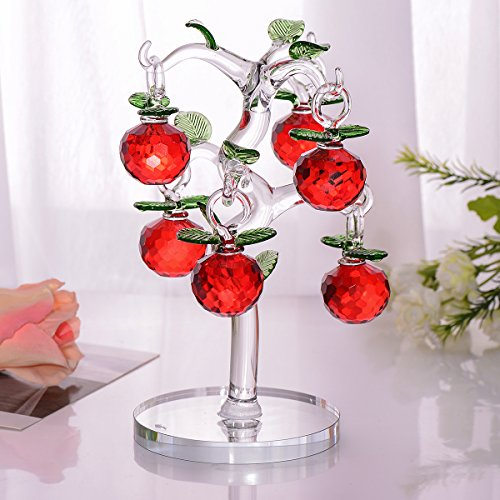 Crystal Xmas Ornaments - Crystal Apple Tree Decorative Apples Pendant Ornaments For Home Living Room Party Wedding Decor Christmas Birthday Xmas Festival Gifts (six apples,red)