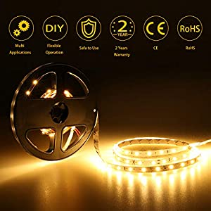 LE 12V LED Strip Light, Flexible, SMD 2835, 16.4ft Tape Light for Home, Kitchen, Party, Christmas and More, Non-waterproof, Warm White by Lighting EVER