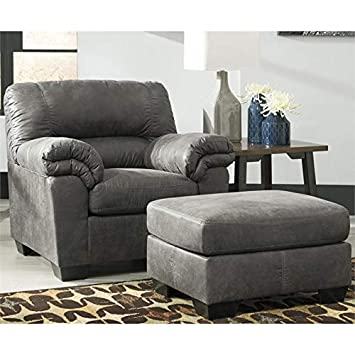 Stupendous Amazon Com Ashley Bladen Accent Chair With Ottoman In Slate Dailytribune Chair Design For Home Dailytribuneorg