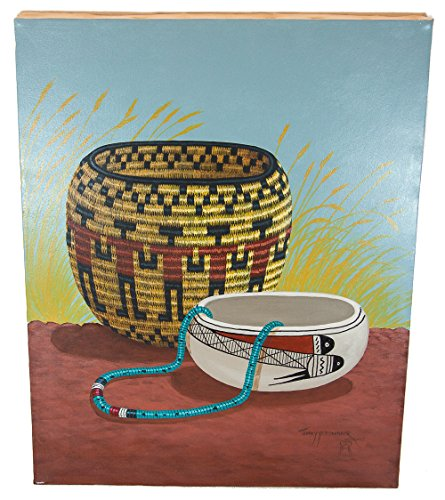 - $350 Navajo Certified Authentic Painted by Acrylic Basket Native American Painting