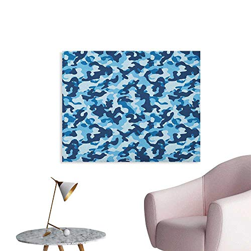 Anzhutwelve Camouflage Photographic Wallpaper Costume Pattern with Vibrant Color Palette Abstract Composition Concealment Funny Poster Blue Coconut W28 xL20