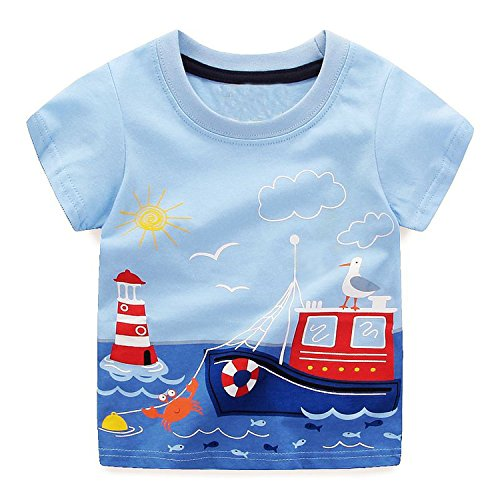 Boys Tops Summer 2018 Brand Children t-Shirts Kids Clothing Children t-Shirt Fille 100% Cotton Character Print Baby Clothes,90,6