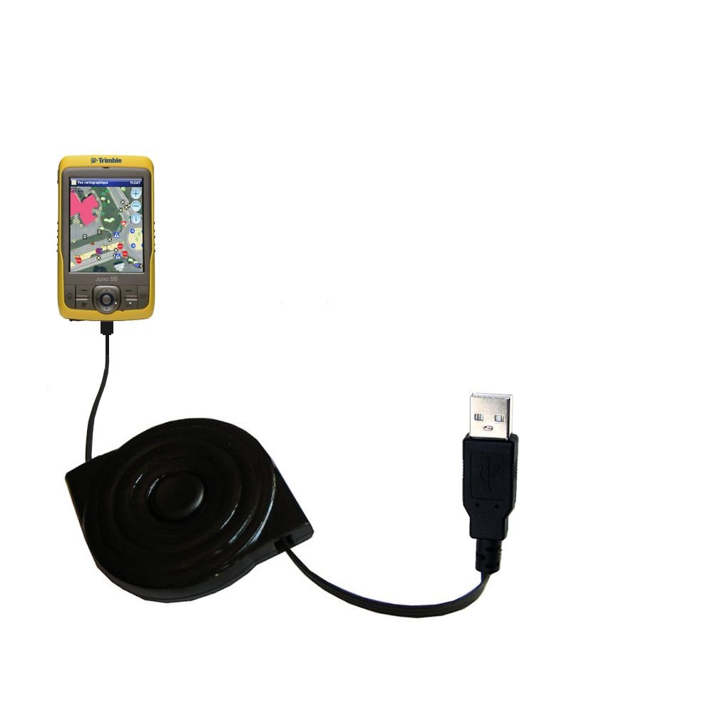 USB Power Port Ready retractable USB charge USB cable wired specifically for the Trimble Juno SD SA SB SC and uses TipExchange