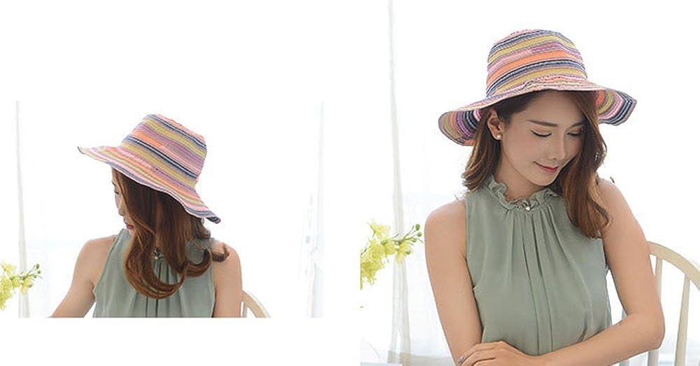LAMEIDA Gorro de visera sombreros de paja Sombrero de sol Mujer Verano Rayas  de tela Gorra Sombrero sol plegable Vacaciones Protección solar Sombrero  arco ... ec51a8c603bf