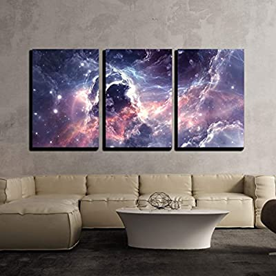 3 Piece Canvas Wall Art - Plasmatic Nebula, Deep Outer Space Background with Stars - Modern Home Art Stretched and Framed Ready to Hang - 24