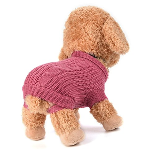 Cheap Fancy Dress Outfits (Small Dog Girl Sweater Wakeu Winter Warm Puppy Clothes Coat Costume (Hot Pink, M))