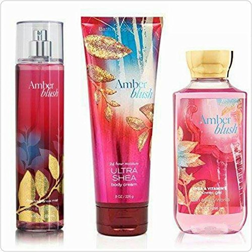 Bath & Body Works Signature Collection Amber Blush Gift Set~10.0 Oz Shower Gel, 8.0 Oz Triple Moisture Body Cream and 8.0 Oz Fine Fragrance Mist ()