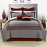 Cosmo Red King 12 Piece Embroidered Comforter Bed In A Bag With Sheet Set
