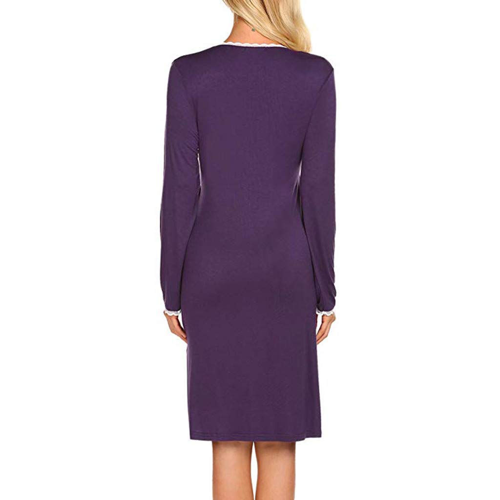 Womens Maternity Lace Gown Dress Nursing Nightgown for Breastfeeding Nightshirt Delivery//Pregnancy Sleepwear S-XL