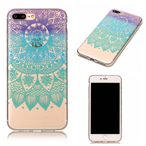 """Crisant blaue Blume Drucken Design weich Silikon Ultra dünn TPU Transparent schutzhülle Hülle für Apple iPhone 7 Plus 5.5"""" (5,5''),Premium Handy Tasche Schutz Case Cover Crystal Bumper Schale für Appl"""