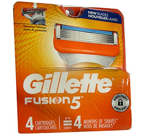 Gillette Fusion Razor Refill Cartridges -Made in USA - Free Gift Included (4 Count)