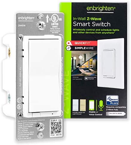 GE 46201 Enbrighten Z-Wave Plus Smart Light Switch with QuickFit and SimpleWire, Works with Alexa, Google Assistant, Zwave Hub Required, Repeater/Range Extender, 3-Way second Gen, White & Light Almond