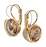 Classic Golden Shadow Swarovski Crystal Earrings with 24K Gold Plating