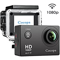 Action Camera, Cocopa Sport Camera 1080P 12MP Full HD 170¡ã Wide Angle Lens 2 Inch LCD Display, 2 Rechargeable Batteries, 30M