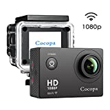 Cocopa Action Camera, 12MP Full HD 1080P WIFI Sport Camera Waterproof Action Camcorder 2 Inch LCD Screen 170 Degree Wide Angle Lens Rechargeable Batteries and 19 Mounting Accessories Kits