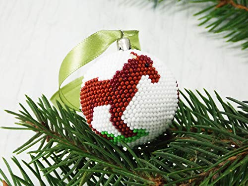 HANDMADE Brown horse Christmas ornament crafts Xmas decor gifts scandinavian decoraton western from UkrainianBeadJewelry
