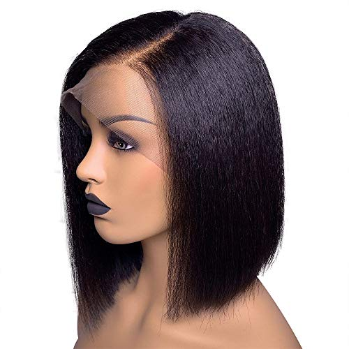 Remy Human Hair Wig - Fenjun 360 Lace Frontal Wig Human Hair Yaki Straight 12 Inch Bob Wigs Remy Hair 360 Lace Front Brazilian Hair for Black Women Side Part 130% Density Kinky Straight Wig Pre plucked Human Hair Wigs