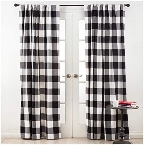 Occasion Gallery Black Holiday Buffalo Plaid Curtain 54″ X 108″ Rectangular