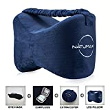 NATUMAX Knee Pillow for Side Sleepers - Sciatica Pain Relief - Back Pain, Leg Pain, Pregnancy, Hip and Joint Pain Memory Foam Leg Pillow with Washable Cover + Free Sleep Mask and Ear Plugs