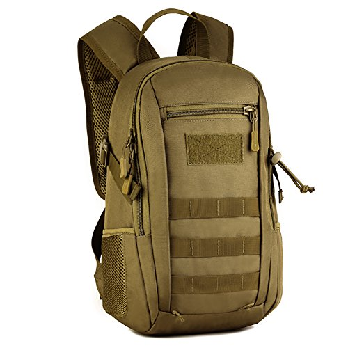 12L Mini Daypack Military MOLLE Backpack Rucksack Gear Tactical Assault Pack Student School Bag (Brown) by Eaglebeky