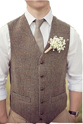 Brown Tweed Vests Wool Herringbone British Style Custom Made Mens Vest Slim Fit Blazer Rustic Wedding Groomsmen Suits For Men L by Brightmenyouth