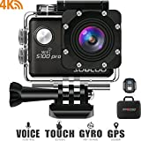 4K WiFi Action Camera Touchscreen, SOOCOO S100 Pro Sports Camera Ultra HD Waterproof DV Camcorder Voice Control 20MP 170°Wide-Angle 2 LCD 2.4G Remote Control/2 Batteries/17 Kits Travel Bag-Black