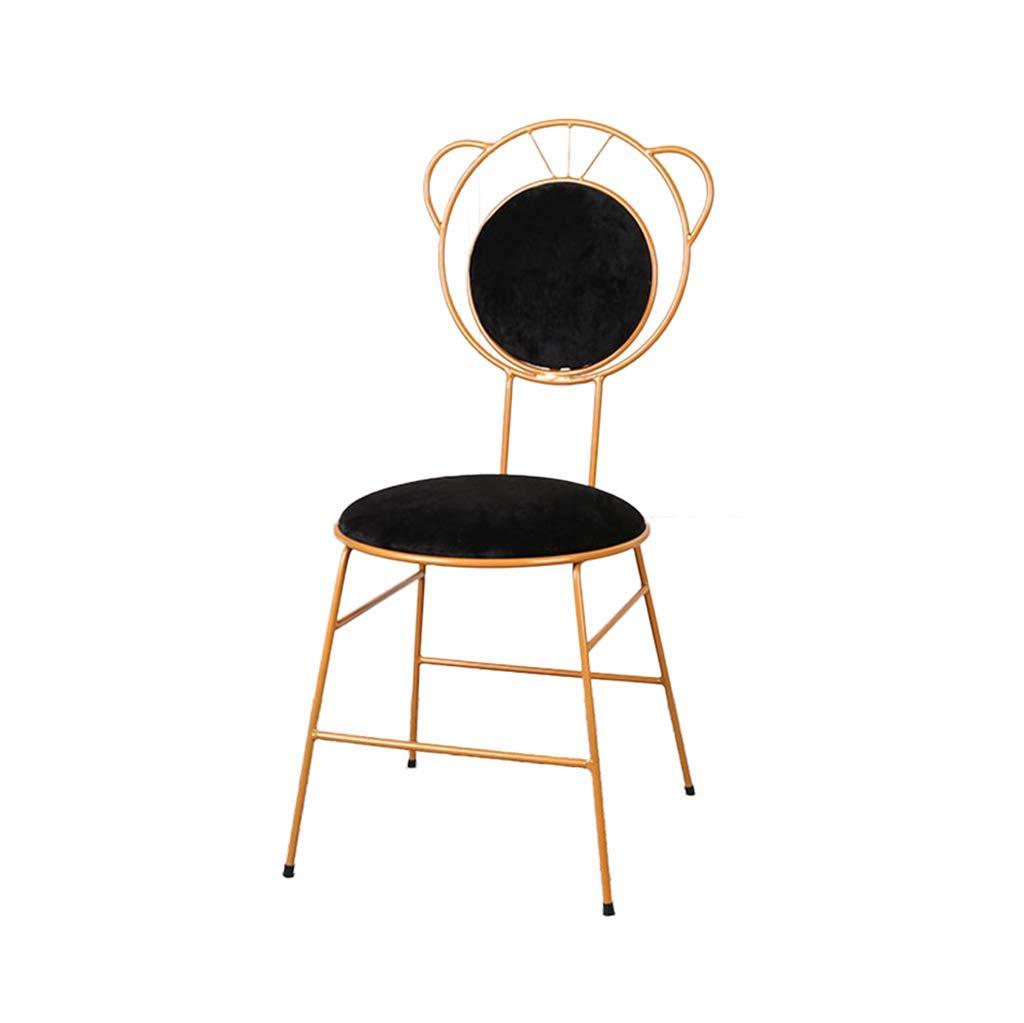 C Flannel Makeup Chair Iron Art Girls Dressing Table,Creative Dining Chair Vanity 1pcs Non-Slip for Restaurant Club Balcony Bar Stool Lounge,G