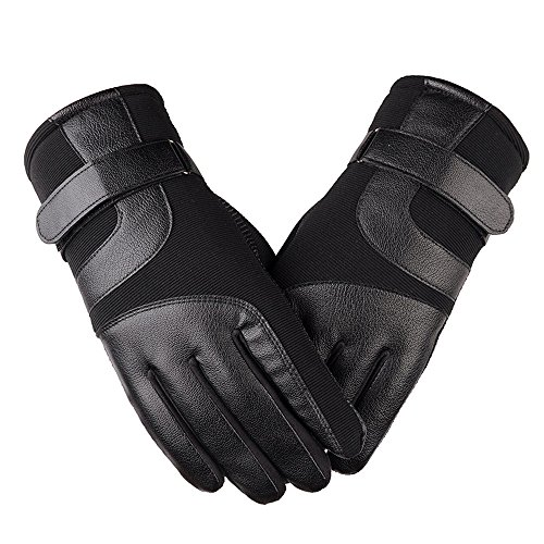 Winter Touchscreen Gloves, SOUBUN PU Faux Leather Thick Warm Gloves Outdoor Windproof Skiing Cycling Motorcycle Gloves for Men and Women