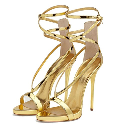 Gold Patent Open Shoes Heels Solid Gladiator Toe Customized Luxury Ankle Thin Ladies Emiki Leather Sandals Strap Women q8anAEFRT