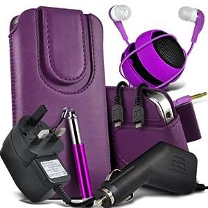 Samsung Galaxy Fame S6810 Protective PU Leather Atracción magnética Slip Cord En la bolsa del lanzamiento rápido con Mini capacitiva lápiz óptico retráctil, 3.5mm en auriculares del oído, Mini recargable altavoz de la cápsula, Micro USB CE aprobado 3 Pin Cargador 12v Micro Car Charger (oscuro púrpura)