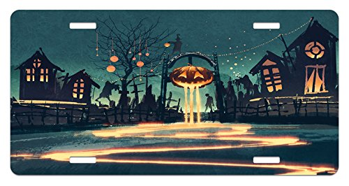 Lunarable Fantasy License Plate, Halloween Theme Night Pumpkin and Haunted House Ghost Town Artful Design Print, High Gloss Aluminum Novelty Plate, 5.88 L X 11.88 W Inches, Teal Orange