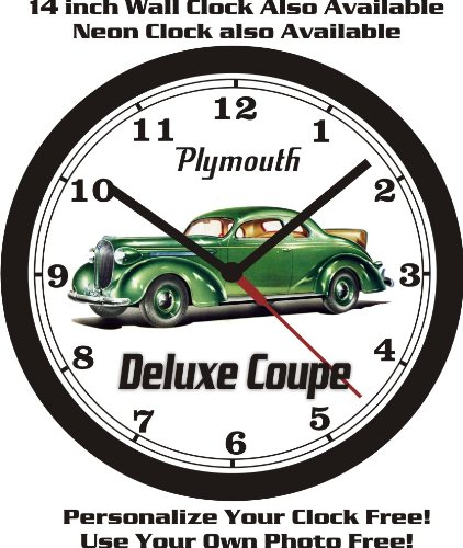 1938 PLYMOUTH DELUXE RUMBLE SEAT COUPE WALL CLOCK-FREE USA SHIP!