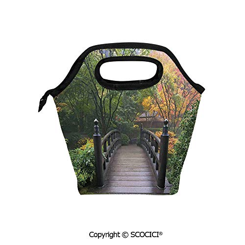 Picnic Food Insulated Cooler Tote Lunch Bag Wooden Bridge at Portland Japanese Garden Oregon in Foggy Autumnal Morning Park Organizer Lunchbox for Women Men Kids.