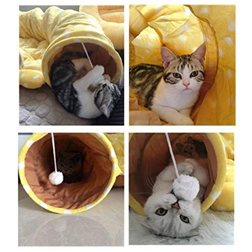ae5e3c343133 ViVseliy Pet Cat Play Tunnel & Bed, Foldable Cat Tunnel Storage Hangable  with Slipped Hole Plush Ball for Kitty Puppy Rabbit, Pets Soft Removable Bed