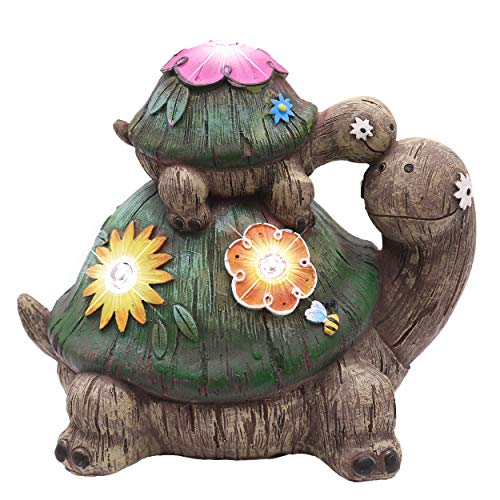 TERESA#039S COLLECTIONS 67 Inch Garden Statues Turtle Figurines Solar Powered Garden Lights for Outdoor Patio Yard Decorations