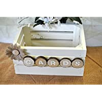 Wedding card box shabby chic white holds 100+ cards rustic wood crate