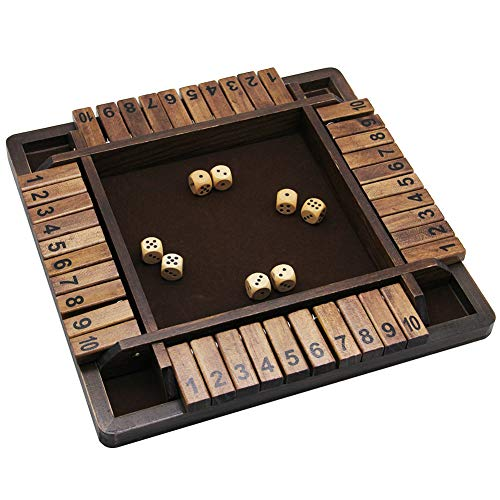 - Juegoal Wooden 4 Players Shut The Box Dice Game, Classics Tabletop Version and Pub Board Game, 12 inch