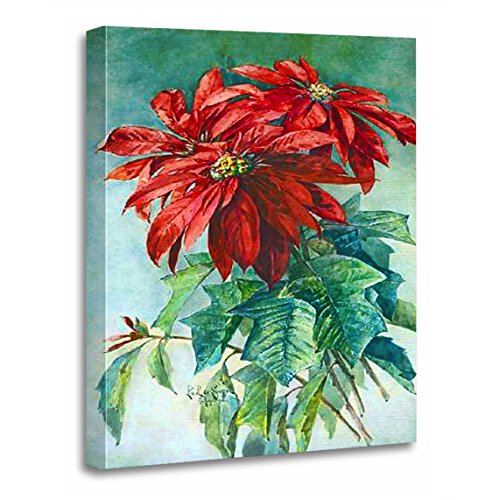 TORASS Canvas Wall Art Print Red Flower Poinsettias Vintage