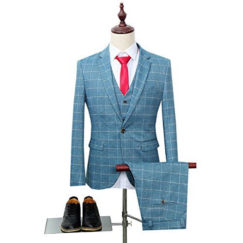 Men's Plaid Modern Fit 3-Piece Suit Blazer Jacket Tux Vest & Trousers, Blue, XX-Large
