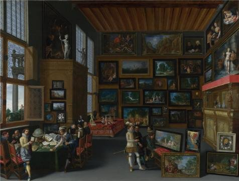 High Quality Polyster Canvas ,the High Definition Art Decorative Prints On Canvas Of Oil Painting 'Flemish - Cognoscenti In A Room Hung With Pictures,about 1620', 8x11 Inch / 20x27 Cm Is Best For Hallway Decoration And Home Gallery Art And Gifts