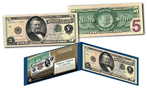 Five Dollar Silver Certificate (Morgan Silver Back 1886 $5 Grant Silver Certificate Banknote on Modern $5 Bill)