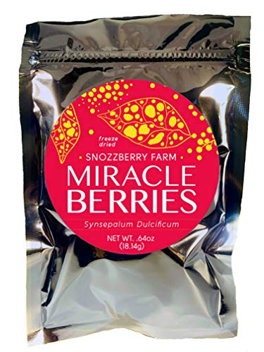 Miracle Berries by the Snozzberry Farm, freeze dried 100% Miracle fruit, Bulk 1-Pack 175 berry halves, Non-GMO, Grown in the USA, Makes sour sweet, Great for flavor tripping parties and ()