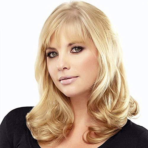 - Long Blonde Human Hair Wigs for Women Natural Wavy Human Hair Wigs with Bangs