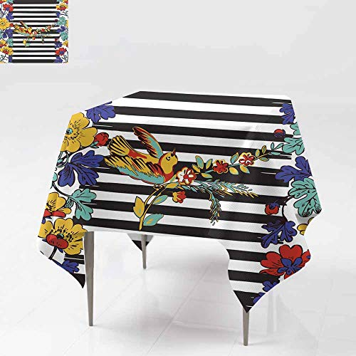 Stain Resistant Square Tablecloth,Seamless exotic bird flying and botanical border frame with tropical flowers print stripes pattern geometric retro backgrou For Banquet Decoration Dining Table ()